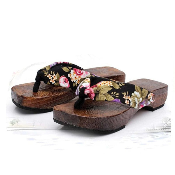 Flower Floral Wood Flip Flops Women Slippers Sandals Clogs