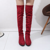 Long Boots Women Flat High Leg Suede
