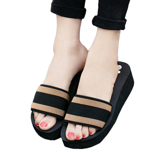 Women Flip Flops Flat Shoes Eva Sandals Slipper Striped