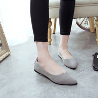 Women Flats Comfy Artificial Leather Shoes Soft Slip-On