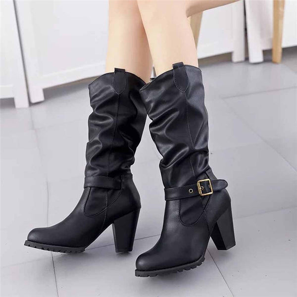 Boots Buckle Leather High Heel Womens