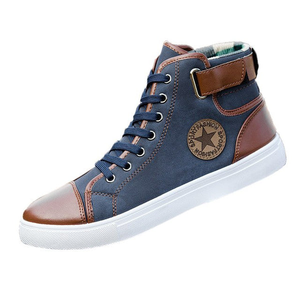 Men Shoes Sneakers Lace-Up Ankle High Top Canvas