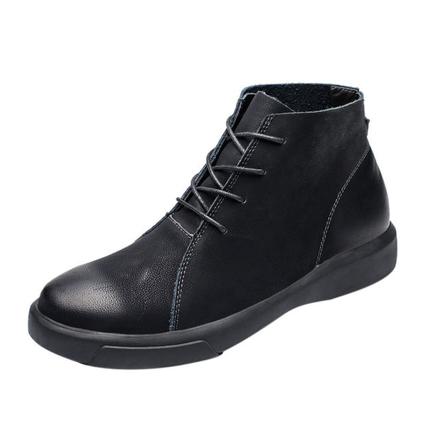 Mens Retro Flat Low-Heeled Shoes Round Head Lace-Up  Boots