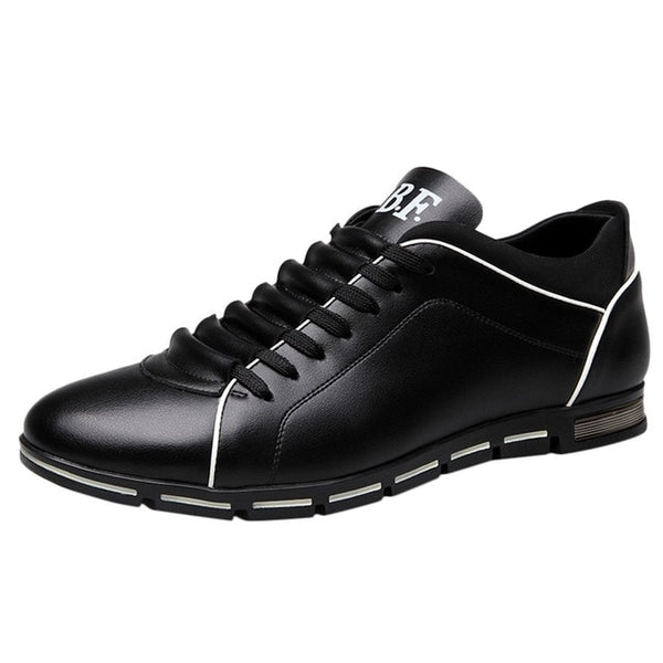 Men Solid Leather Sneakers Flat Round Toe