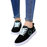 Women Shoes Sneakers Letter Smile Flat Ankle Student Round Toe
