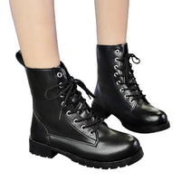 Boots Round Toe Leather Shoes Flat Booties Lace Up