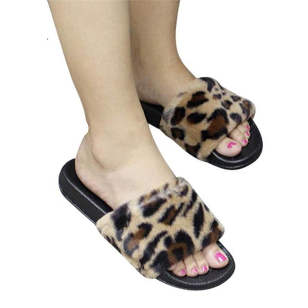 Women Slippers Slip On Sliders Fluffy Faux Fur
