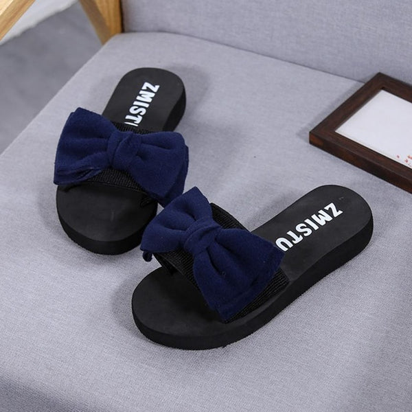 Women Slippers Flip Flop Shoes Bow Tie Fluffy Platform Slides