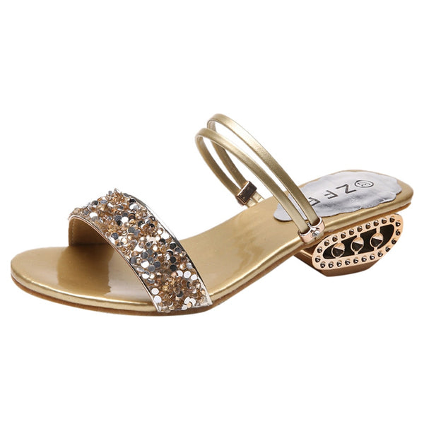Women Rhinestone Sandals Fish Mouth Sequins Wild Shoes High Heel Slippers