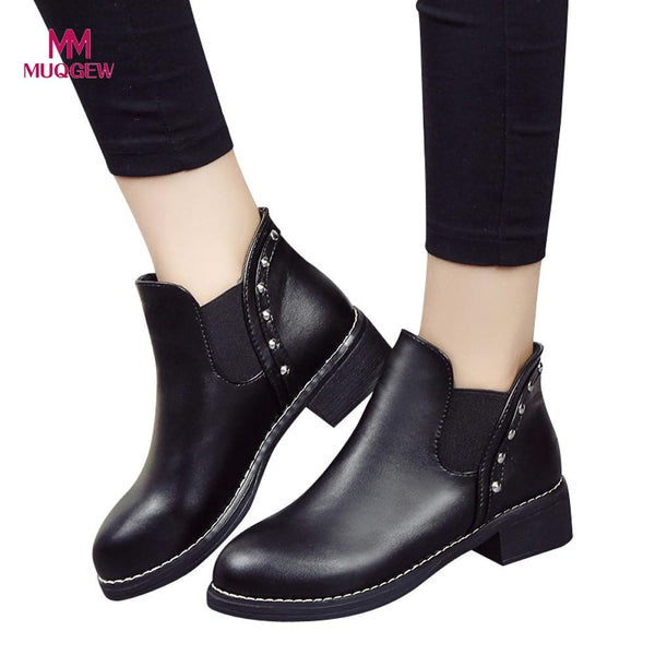 Shoes Women Flat Boots Rivets Leather Ankle Round Toe