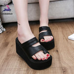 Women Slippers Solid Peep Toe Thick Bottom Sandals Shoes
