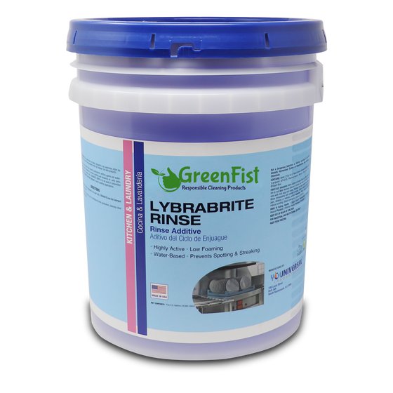 Commercial Dishwasher Rinse Aid & Agent For Industrial Dishwasher Machines 5 Gallon Pail Lybrabrite [Ready-to-Use] [ 32 pcs] , 1 Pallet ( ALASKA CUSTOMERS)