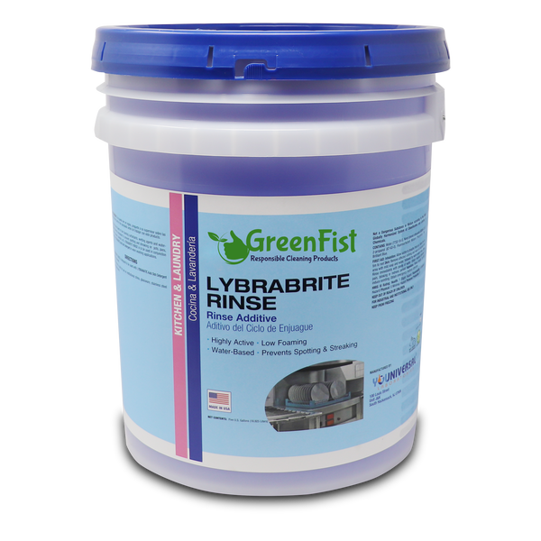 Commercial Dishwasher Rinse Aid & Agent For Industrial Dishwasher Machines 5 Gallon Pail Lybrabrite [Ready-to-Use]