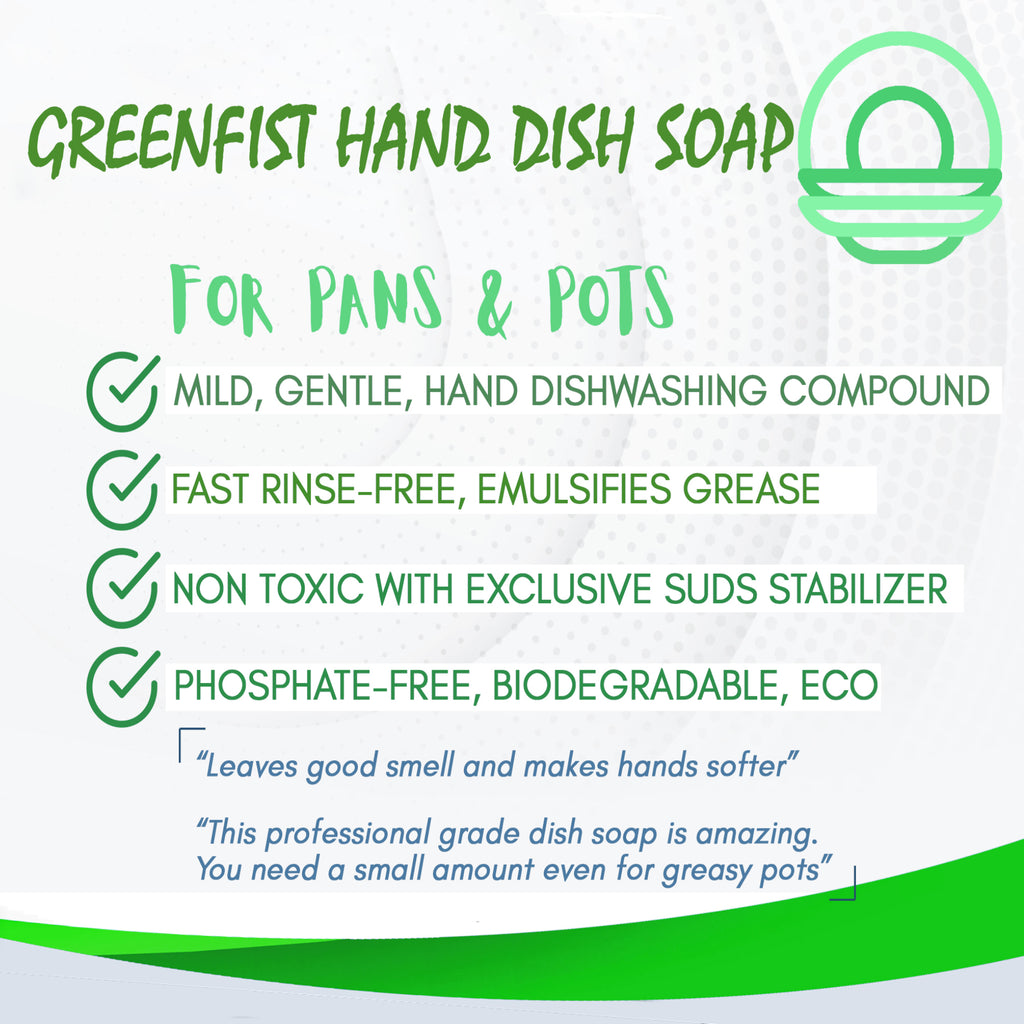 GreenFist Hand Dish Soap - Professional Kitchen Pot & Pan Wash Liquid Cleaner [Concentrated] – Non Toxic, Light or Heavy Use, Lemon Scent }, 1 Gallon