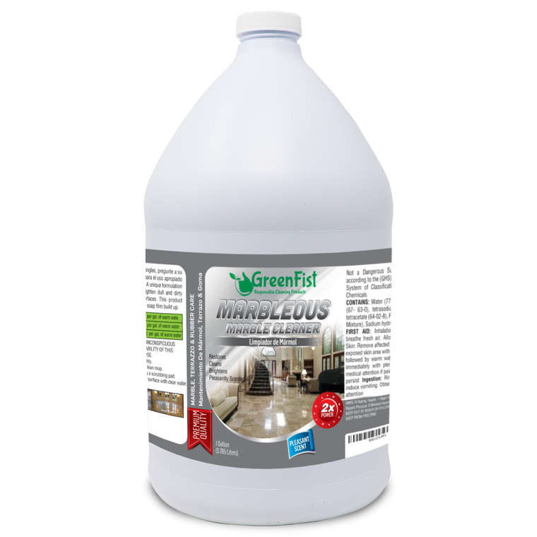 GreenFist Marbleous Marble Cleaner and Other Stone Surfaces Brightener & Restorer [Countertop,Porcelain,Lime-Stone,Ceramic,Granite,Brick,Vinyl] (1 Gallon)