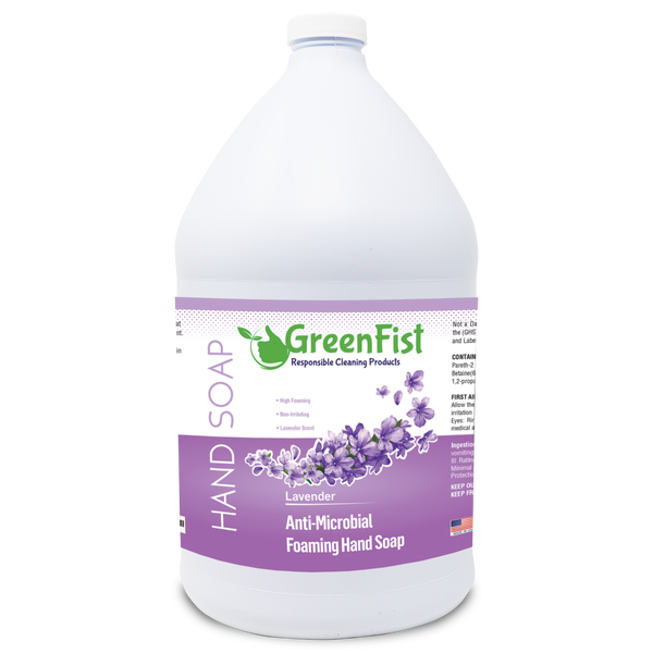 GreenFist Antibacterial Foaming Hand Soap Refills Jug Lavender Scent Foam Refill Made in USA , 128 ounce (1 Gallon) - GreenFist