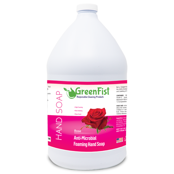 GreenFist Antibacterial Foaming Hand Soap Refills Jug Rose Scent Foam Refill Made in USA, 128 ounce (1 Gallon)