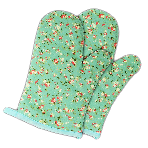 Mittsy Set of Two Oven Mitts | Heat Resistant Cotton Kitchen Pot Holder Gloves for Cooking,Barbecue,Baking,Grilling (Petite Flowers)