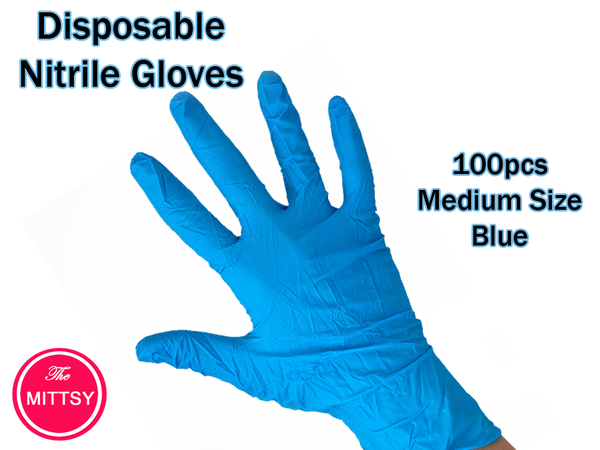 Mittsy Disposable Nitrile Gloves | Powder Free Blue Gloves - 100 Pcs / Medium