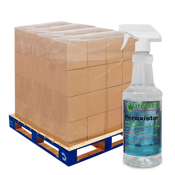 GreenFist PeroxiStar Hydrogen Peroxide Multi Surface Cleaner [Ready to Use], (Spray Bottles 144 x 32 oz) 1 Skid