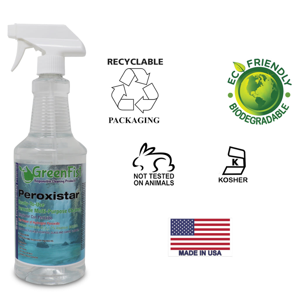 GREENFIST ALL PURPOSE HYDROGEN PEROXIDE CLEANER WITH CITRUS FRAGRANCE [ CONCENTRATED ] MAKES 16 GALLONS READY TO USE (1 GALLON) + GreenFist PeroxiStar Hydrogen Peroxide Multi Surface Cleaner [Ready to Use], (Spray Bottles 12 x 32 oz)