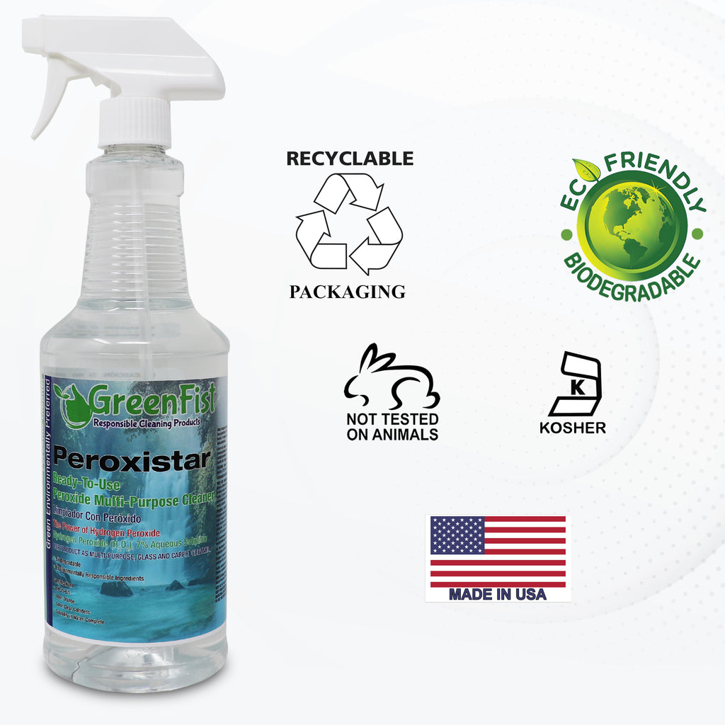 GreenFist PeroxiStar Hydrogen Peroxide Multi Surface Cleaner [Ready to Use], (Spray Bottle 32 oz)