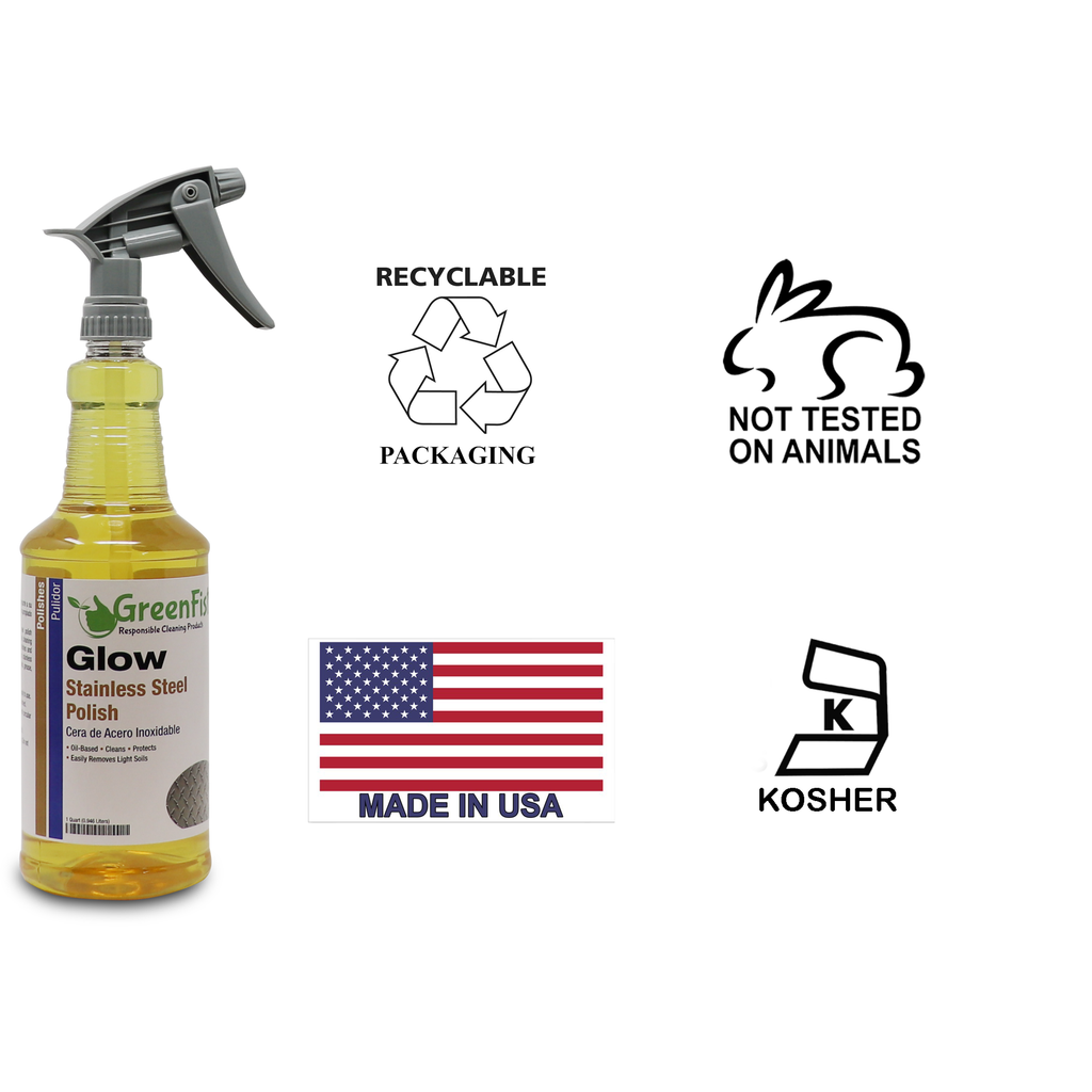 GreenFist | Stainless Steel, Chrome, Aluminum Cleaner, Premium Polisher & Protector, 32 Fluid Ounce Spray