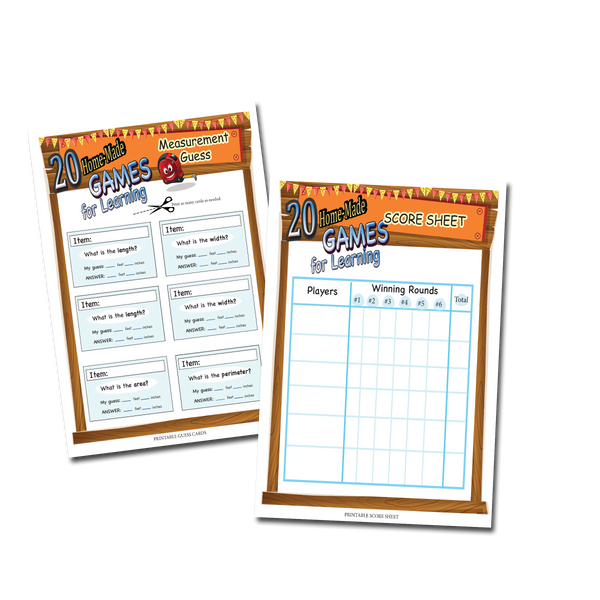 Printables for 20 learning games