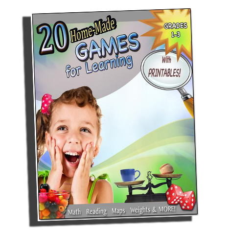 20 Home-Made Games for Learning (Ebook)- w/Printables (Grades 1-3)