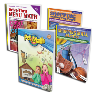 Real-Life Math 4 Pack - Pets, Shopping & Dining! (Grades 3-5)