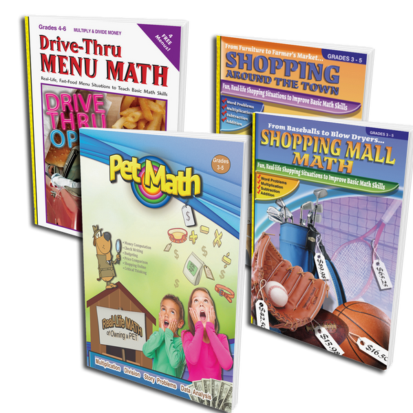 Real-Life Math 4 Pack -Pets, Shopping & Dining! (Grades 3-5)