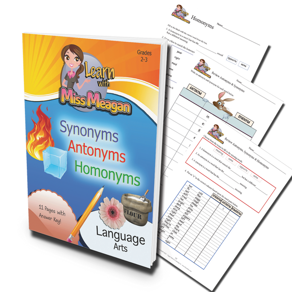 Homonyms, Antonyms & Synonyms Printable Workbook (Grades 2-3)