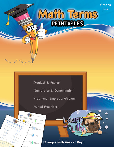Math Terms Printable Workbook - (Grades 3-4)