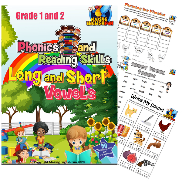 Phonics and Reading Skills Printable Workbook – Long and Short Vowels (Grades 1-2)
