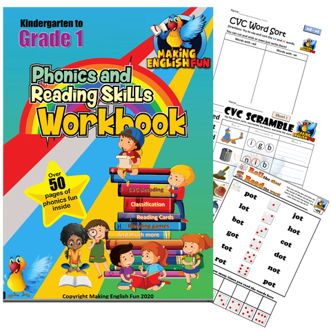 Phonics and Reading Skills Printable Workbook - Sounds & CVC Words (Grades 1-2)