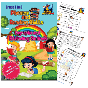 Phonics and Reading Skills Printable Workbook – Blends and Digraphs (Grades 1-3)