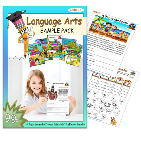 Language Arts Printable Sample Pack - Grades 1-3