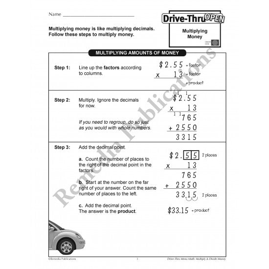 Drive-Thru Menu Math - Multiply & Divide Money (Grades 4-6)