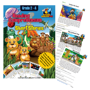 Reading Comprehension 80 Short Stories Printable Workbook -  (Grades 2-4)