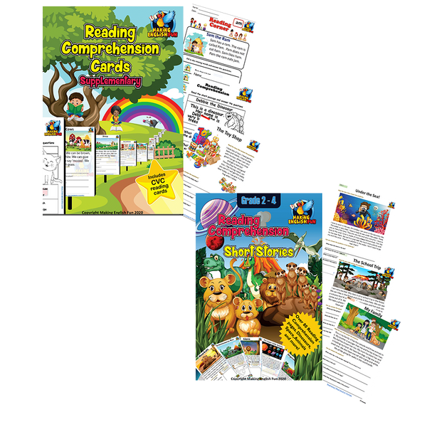 Reading Comprehension Cards Printable Workbook (Grades 1-2)