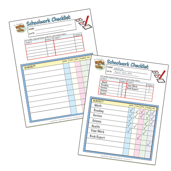Podcast #3  FREE Printable- Schoolwork Check-Off Sheet