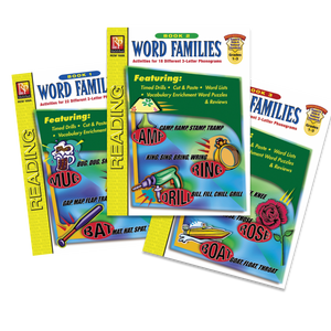 Word Families (Set of 3 Workbooks) Grades 1-3
