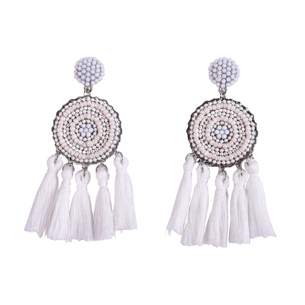763c0195bb162b Womens Layered Tassel Earring Beaded Boho Statement Fringe | Royal Blu –  Rivertree Jewellery