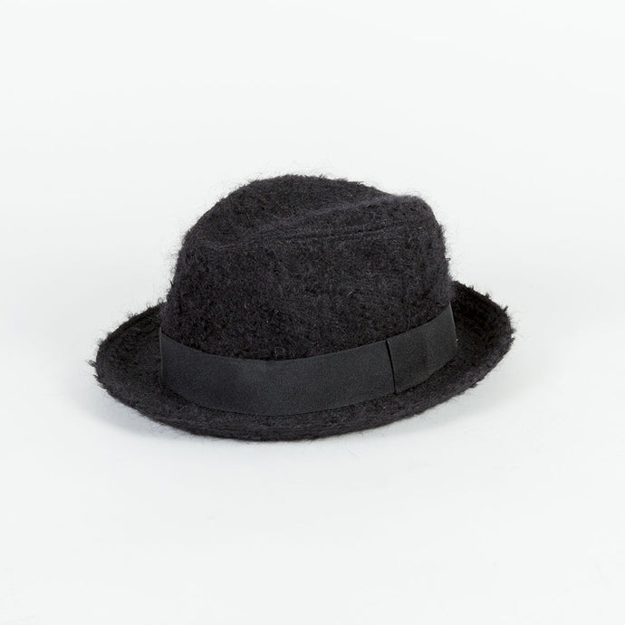 Black Mohair Trilby Hat