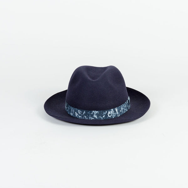Navy Rabbit Fur Felt Fedora Hat