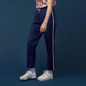 Navy Fine Wool Track Pants