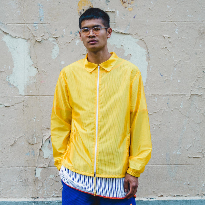 MELANGE-Yellow Tergal Coach Jacket