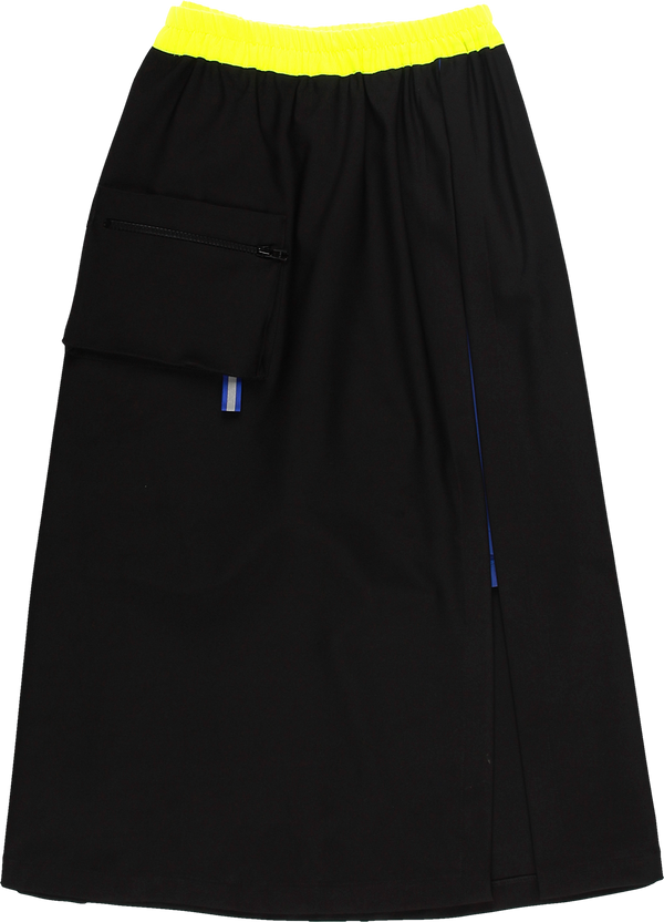 MELANGE - Black & Royal Blue Shorts Skirt