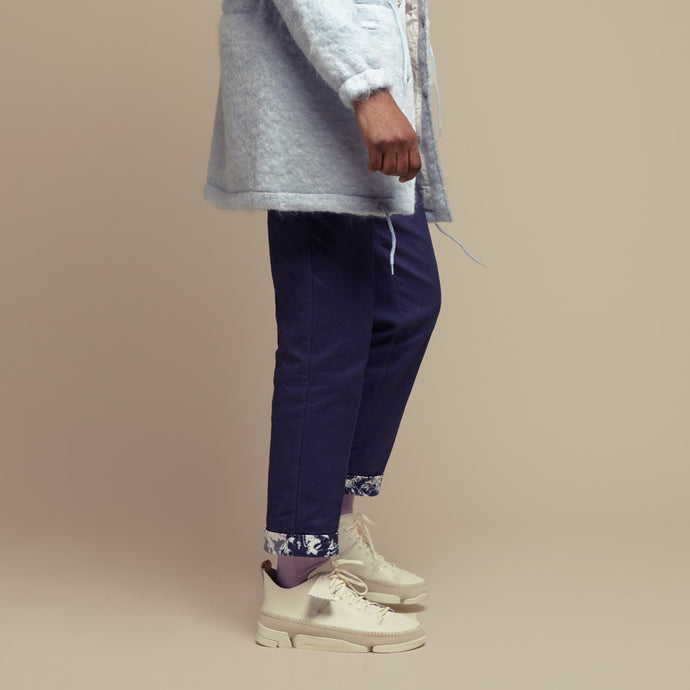 Blue Cotton Setback Pants