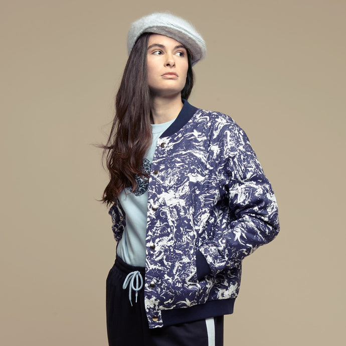 Blue Cotton Printed Bomber Jacket